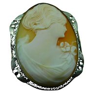 1920'S Profile Cameo Pin- Pendant in 14K white gold