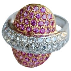 Diamond & pink sapphire in 18K pink gold & platinum ring