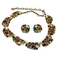 Lisner Cinnamon Rhinestone necklace and earrings