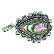 Abalone shell in sterling silver pendant by BELL TRADING POST of Albuquerque, New Mexico