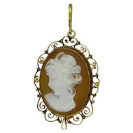 Profile shell cameo pendant in 18K hand made yellow gold frame