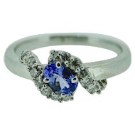 75 pt. Tanzanite ring in 14K white gold with 1/2 ct. in diamonds