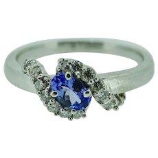 75 pt. Tanzanite ring in 14K white gold with 1/2 ct. in diamonds