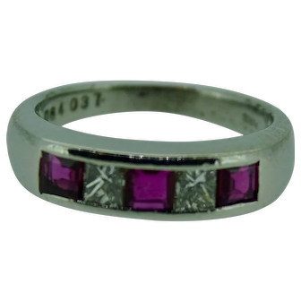 Square ruby and quadrillion diamond ring in platinum ring