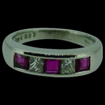 Square ruby and quadrillion diamond ring in platinum ring