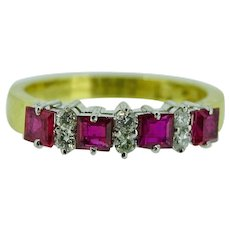 Ruby and Diamond band in 18K yellow gold
