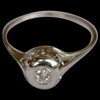 18K white gold basket setting ring with 17 point old European diamond