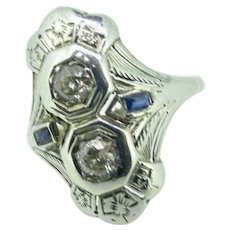 Diamond and Sapphire in filigree 18K white gold art deco 1920's dinner ring