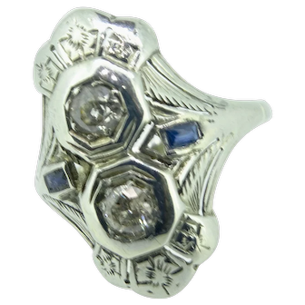 Diamond and Sapphire in filigree 18K white gold art deco 1920's dinner ring