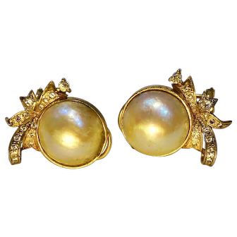 Maby pearl and diamond French back earrings in 14K gold