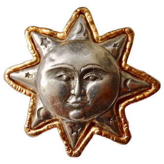 Jonette jewelry sun moon and stars pin in plated base metal