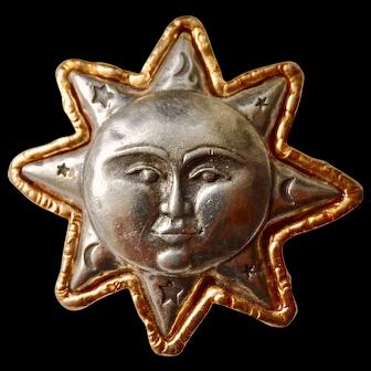 Jonette jewelry sun moon and stars pin in plated base metal