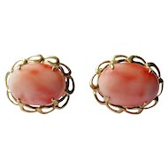 Angel skin coral oval cabochon coral earrings 14K yellow gold