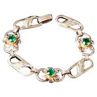 12K Gold Filled Van Dell Green Rhinestone Link Bracelet