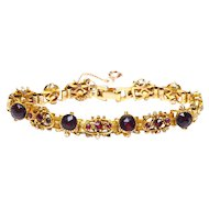 Vintage Victorian Revival Faux Rose Cut Ruby Book Chain Bracelet Gold Tone