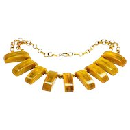 Bakelite Geometric Necklace  END of DAY  1929 Book Piece  Apple juice Red Butterscotch Pea Soup