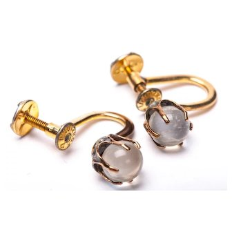 Antique Art Nouveau Gold Filled Clear Moonstone Sphere Earrings SCREW ON Moonstone earrings