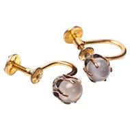 Antique Art Nouveau Gold Filled Clear Moonstone Sphere Earrings SCREW ON Moonstone earrings