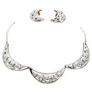 High-end Tri-panel Black Enamel & Pave Rhinestone Necklace Earring Set