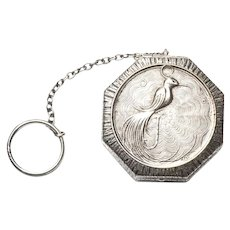 Antique Silver Compact Powder Box w/ Finger Ring Chatelaine Rouge Pot Victorian Cosmetics Phoenix