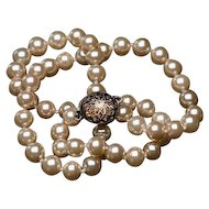 Vintage Glass Pearl Necklace Champagne Hand knotted 7mm