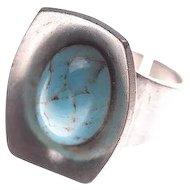 Midcentury Mod Jorgen JENSEN Denmark Pewter Turquoise Glass Ring Adj.