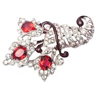 CROWN TRIFARI Vintage Philippe 1940s Cornucopia Fur Clip Pin Clip Red Rhinestone