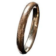 Engraved Hinged Floral Bangle Inscribed February 28, 1951 First Anniversary