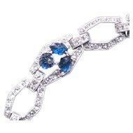 Vintage Art Deco Fruit Salad Bracelet Sapphire Bracelet Rhinestone bracelet Link Bracelet 1930s SIGNED