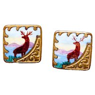 Antique Collar Shirt Studs Enameled Fixed Back Gold Gilt Embossed Moose, Elk, Deer, Hunting 1880