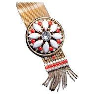 Vintage HOBÉ Bracelet Faux Coral & White Rhinestone Mesh Bracelet with Rattail Fringe Tassel Orange Bracelet Flower Bracelet HOBE