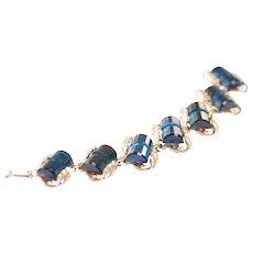 Sapphire Blue Rhinestone Bracelet Vintage Rhinestone Bracelet Mid Century Rhinestone Bracelet Blue Bracelet SIlver Blue