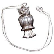 Sterling Silver Modernist Owl Pendant 925 NF Signed