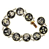 Japanese Komai Damascene Bracelet Inlaid Gold & Silver