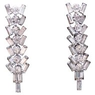 Fabulous Sticks and Stones Rhinestone Dangle Drop Earrings CLIP ON