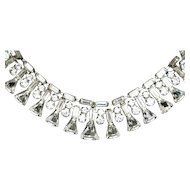 Vintage 1950s Necklace Clear KEYSTONE Necklace Rhinestone Necklace Crystal Rhinestone Necklace