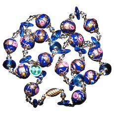 Blue Pink Rose Venetian Murano Wedding Cake Foil Art Glass Bead Vintage Necklace NOSWT