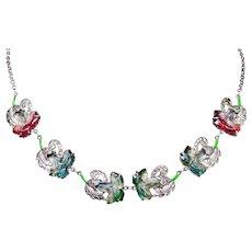 Sterling Silver Art Nouveau Uncas Glass Flower Necklace Marcasite Enamel Sterling Necklace 1920s