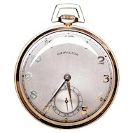Hamilton 1901 Open Face 14K Gold Filled 17 Jewel Pocket Watch Movement #143088 LOYAL SERVICE