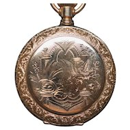 14K Solid Gold ELGIN Ladies Ornate Antique Hunter Case Pocket Watch c.1895 Bird Nest 6s