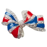 Vintage Patriotic Red White & Blue Enamel Ribbon Rhinestone Bow Brooch