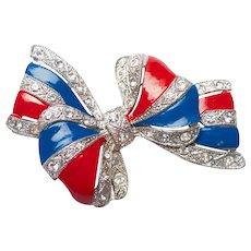 Vintage Patriotic Red White & Blue Enamel Ribbon Rhinestone Bow Brooch