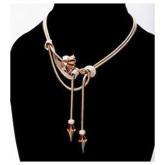 1950s Marcel Boucher Gold-Plated Double Gooseneck Chain Lariat Necklace  Boucher Necklace