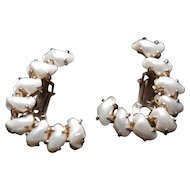 "Vintage DeRosa ""Baby Teeth"" Pearl Earrings CLIP ON"