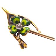 Victorian 14K Gold Diamond Green Enamel Lucky 4 Leaf Clover Wishbone Stick Pin Original Box Irish