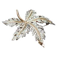Vintage Trifari Maple Leaf Rhinestone Pave Brooch