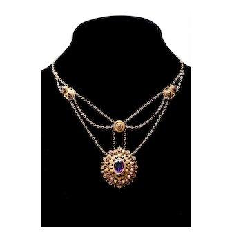 Victorian FESTOON BIB Necklace Amethyst Necklace Antique Necklace