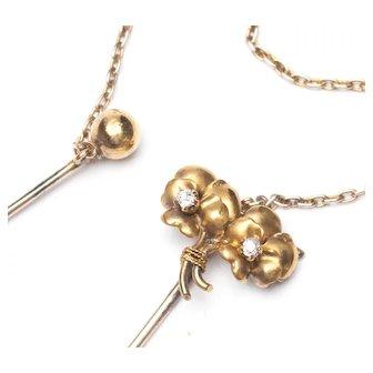 Antique 14K Yellow Gold Victorian Diamond Pansy Double Stick Pin Cape Pin Cloak Pin
