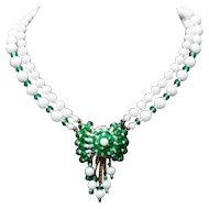 Vintage Double Strand Milk Glass and Green Faceted Rondelle Wired Filigree Necklace with Dangles