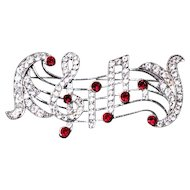 Vintage Carina Rhinestone TREBLE CLEF~ Music Score Musical Note Piano Pin Brooch Jewelry